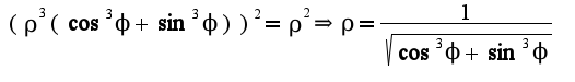 $(\rho^3(\cos^3\phi+\sin^3\phi))^2=\rho^2\Rightarrow  \rho=\frac{1}{\sqrt{\cos^3\phi+\sin^3\phi}}$