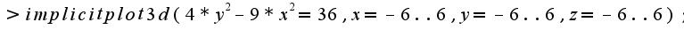 $>implicitplot3d(4*y^2-9*x^2=36,x=-6..6,y=-6..6,z=-6..6);$