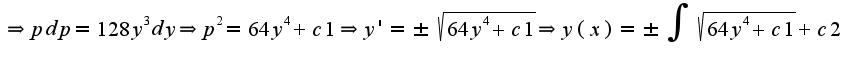 $\Rightarrow pdp=128y^3dy\Rightarrow p^2=64y^4+c1\Rightarrow y'=\pm \sqrt{64y^4+c1}\Rightarrow y(x)=\pm\int\sqrt{64y^4+c1}+c2$