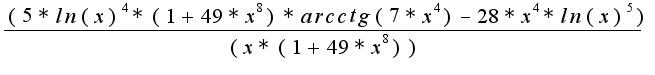 $\frac{(5*ln(x)^4*(1+49*x^8)*arcctg(7*x^4)-28*x^4*ln(x)^5)}{(x*(1+49*x^8))}$