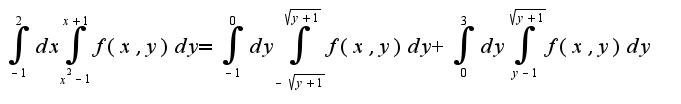 $\int_{-1}^{2}{dx} \int_{x^2-1}^{x+1}{f(x,y)dy}=\int_{-1}^{0}{dy} \int_{- \sqrt{y+1}}^{\sqrt{y+1}}{f(x,y)dy}+\int_{0}^{3}{dy} \int_{y-1}^{\sqrt{y+1}}{f(x,y)dy}$