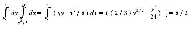 $\int_{0}^{4}dy\int_{y^2/8}^{\sqrt{y}}dx=\int_{0}^{4}(\sqrt{y}-y^{2}/8)dy=((2/3)y^{3/2}-\frac{y^{3}}{24})|_{0}^{4}=8/3$