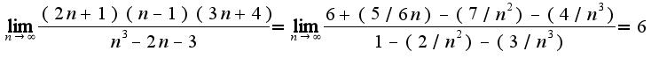 $\lim_{n\rightarrow \infty}\frac{(2n+1)(n-1)(3n+4)}{n^3-2n-3}=\lim_{n\rightarrow \infty}\frac{6+(5/6n)-(7/n^2)-(4/n^3)}{1-(2/n^2)-(3/n^3)}=6$