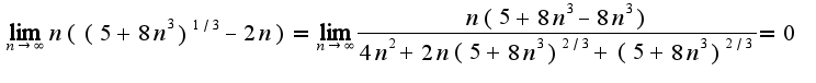 $\lim_{n\rightarrow \infty}n((5+8n^3)^{1/3}-2n)=\lim_{n\rightarrow \infty}\frac{n(5+8n^3-8n^3)}{4n^2+2n(5+8n^3)^{2/3}+(5+8n^3)^{2/3}}=0$