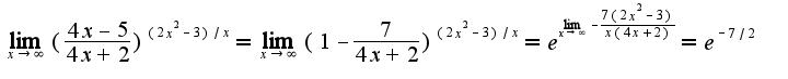 $\lim_{x\rightarrow \infty}(\frac{4x-5}{4x+2})^{(2x^2-3)/x}=\lim_{x\rightarrow \infty}(1-\frac{7}{4x+2})^{(2x^2-3)/x}=e^{\lim_{x\rightarrow \infty}-\frac{7(2x^2-3)}{x(4x+2)}}=e^{-7/2}$