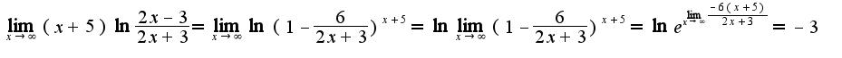 $\lim_{x\rightarrow \infty}(x+5)\ln\frac{2x-3}{2x+3}=\lim_{x\rightarrow \infty}\ln(1-\frac{6}{2x+3})^{x+5}=\ln\lim_{x\rightarrow \infty}(1-\frac{6}{2x+3})^{x+5}=\ln e^{\lim_{x\rightarrow \infty}\frac{-6(x+5)}{2x+3}}=-3$