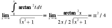 $\lim_{x\rightarrow \infty}\frac{\int_{0}^{x}\arctan^2 tdt}{\sqrt{x^2+1}}=\lim_{x\rightarrow \infty}\frac{\arctan^2 x}{2x/2\sqrt{x^2+1}}=\pi^2/4$