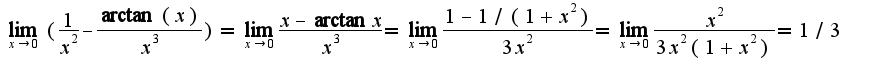 $\lim_{x\rightarrow 0}(\frac{1}{x^2}-\frac{\arctan(x)}{x^3})=\lim_{x\rightarrow 0}\frac{x-\arctan x}{x^3}=\lim_{x\rightarrow 0}\frac{1-1/(1+x^2)}{3x^2}=\lim_{x\rightarrow 0}\frac{x^2}{3x^2(1+x^2)}=1/3$