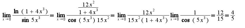 $\lim_{x\rightarrow 0}\frac{\ln(1+4x^3)}{\sin 5x^3}=\lim_{x\rightarrow 0}\frac{\frac{12x^2}{1+4x^3}}{\cos (5x^3 )15x^2}=\lim_{x\rightarrow 0}\frac{12x^2}{15x^2(1+4x^3)}\lim_{x\rightarrow 0}\frac{1}{\cos(5x^3)}=\frac{12}{15}=\frac{4}{5}$