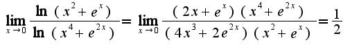 $\lim_{x\rightarrow 0}\frac{\ln(x^2+e^{x})}{\ln(x^4+e^{2x})}=\lim_{x\rightarrow 0}\frac{(2x+e^{x})(x^4+e^{2x})}{(4x^3+2e^{2x})(x^2+e^{x})}=\frac{1}{2}$
