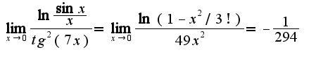 $\lim_{x\rightarrow 0}\frac{\ln \frac{\sin x}{x}}{tg^2(7x)}=\lim_{x\rightarrow 0}\frac{\ln(1-x^2/3!)}{49x^2}=-\frac{1}{294}$