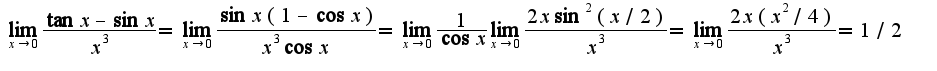 $\lim_{x\rightarrow 0}\frac{\tan x-\sin x}{x^3}=\lim_{x\rightarrow 0}\frac{\sin x(1-\cos x)}{x^3\cos x}=\lim_{x\rightarrow 0}\frac{1}{\cos x}\lim_{x\rightarrow 0}\frac{2x\sin^2(x/2)}{x^3}=\lim_{x\rightarrow 0}\frac{2x(x^2/4)}{x^3}=1/2$