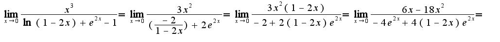 $\lim_{x\rightarrow 0}\frac{x^3}{\ln(1-2x)+e^{2x}-1}=\lim_{x\rightarrow 0}\frac{3x^2}{(\frac{-2}{1-2x})+2e^{2x}}=\lim_{x\rightarrow 0}\frac{3x^{2}(1-2x)}{-2+2(1-2x)e^{2x}}=\lim_{x\rightarrow 0}\frac{6x-18x^2}{-4e^{2x}+4(1-2x)e^{2x}}=$