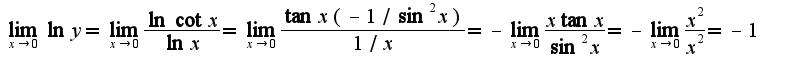 $\lim_{x\rightarrow 0}\ln y=\lim_{x\rightarrow 0}\frac{\ln\cot x}{\ln x}=\lim_{x\rightarrow 0}\frac{\tan x(-1/\sin^2 x)}{1/x}=-\lim_{x\rightarrow 0}\frac{x\tan x}{\sin^2 x}=-\lim_{x\rightarrow 0}\frac{x^2}{x^2}=-1$