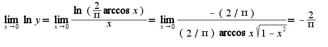 $\lim_{x\rightarrow 0}\ln y=\lim_{x\rightarrow 0}\frac{\ln (\frac{2}{\pi}\arccos x)}{x}=\lim_{x\rightarrow 0}\frac{-(2/\pi)}{(2/\pi)\arccos x\sqrt{1-x^2}}=-\frac{2}{\pi}$