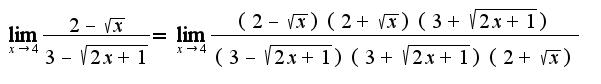 $\lim_{x\rightarrow 4}\frac{2-\sqrt{x}}{3-\sqrt{2x+1}}=\lim_{x\rightarrow 4}\frac{(2-\sqrt{x})(2+\sqrt{x})(3+\sqrt{2x+1})}{(3-\sqrt{2x+1})(3+\sqrt{2x+1})(2+\sqrt{x})}$