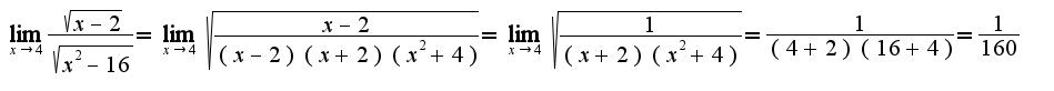 $\lim_{x\rightarrow 4} \frac{\sqrt{x-2}}{\sqrt{x^{2}-16}}=\lim_{x\rightarrow 4} \sqrt{\frac{x-2}{(x-2)(x+2)(x^2+4)}}=\lim_{x\rightarrow 4} \sqrt{\frac{1}{(x+2)(x^2+4)}}=\frac{1}{(4+2)(16+4)}=\frac{1}{160}$