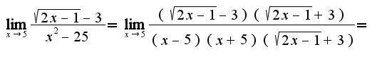 $\lim_{x\rightarrow 5}\frac{\sqrt{2x-1}-3}{x^2-25}=\lim_{x\rightarrow 5}\frac{(\sqrt{2x-1}-3)(\sqrt{2x-1}+3)}{(x-5)(x+5)(\sqrt{2x-1}+3)}=$