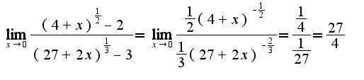 $\lim_{x \rightarrow 0} \frac{(4+x)^{\frac{1}{2}}-2}{(27+2x)^{\frac{1}{3}}-3}=\lim_{x \rightarrow 0} \frac{\frac{1}{2}(4+x)^{-\frac{1}{2}}}{\frac{1}{3}(27+2x)^{-\frac{2}{3}}}=\frac{\frac{1}{4}}{\frac{1}{27}}=\frac{27}{4}$