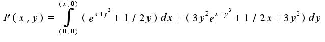 $F(x,y)=\int_{(0,0)}^{(x,0)}(e^{x+y^3}+1/2 y)dx+(3y^2e^{x+y^3}+1/2x+3y^2)dy$