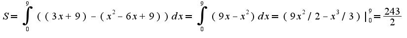 $S=\int_{0}^{9}((3x+9)-(x^2-6x+9))dx=\int_{0}^{9}(9x-x^2)dx=(9x^2/2-x^3/3) _{0}^{9}=\frac{243}{2}$