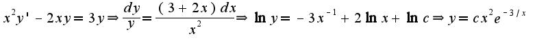 $x^2y'-2xy=3y\Rightarrow \frac{dy}{y}=\frac{(3+2x)dx}{x^2}\Rightarrow \ln y=-3x^{-1}+2\ln x+\ln c\Rightarrow y=cx^2e^{-3/x}$