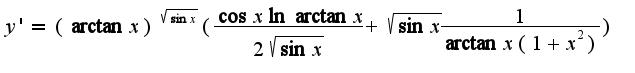 $y'=(\arctan x)^{\sqrt{\sin x}}(\frac{\cos x\ln \arctan x}{2\sqrt{\sin x}}+\sqrt{\sin x}\frac{1}{\arctan x(1+x^2)})$