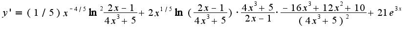 $y'=(1/5)x^{-4/5}\ln^2\frac{2x-1}{4x^3+5}+2x^{1/5}\ln(\frac{2x-1}{4x^3+5})\cdot\frac{4x^3+5}{2x-1}\cdot\frac{-16x^3+12x^2+10}{(4x^3+5)^2}+21e^{3x}$