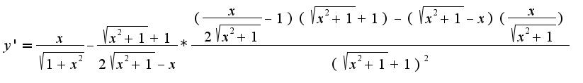 $y'=\frac{x}{\sqrt{1+x^2}}-\frac{\sqrt{x^2+1}+1}{2\sqrt{x^2+1}-x}*\frac{(\frac{x}{2\sqrt{x^2+1}}-1)(\sqrt{x^2+1}+1)-(\sqrt{x^2+1}-x)(\frac{x}{\sqrt{x^2+1}})}{(\sqrt{x^2+1}+1)^2}$