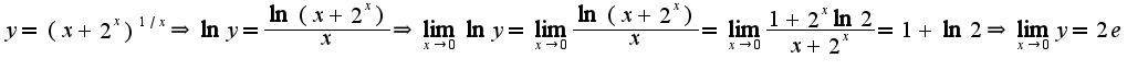 $y=(x+2^{x})^{1/x}\Rightarrow \ln y=\frac{\ln(x+2^{x})}{x}\Rightarrow \lim_{x\rightarrow 0}\ln y=\lim_{x\rightarrow 0}\frac{\ln(x+2^{x})}{x}=\lim_{x\rightarrow 0}\frac{1+2^{x}\ln 2}{x+2^{x}}=1+\ln 2\Rightarrow \lim_{x\rightarrow 0}y=2e$