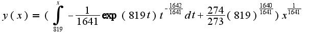 $y ( x ) = ( \int_{819}^{x}-\frac{1}{1641}\exp(819 t)t^{-\frac {1642}{1641}}dt+\frac {274}{273}(819)^{\frac {1640}{1641}} ) x^{\frac{1}{1641}}$